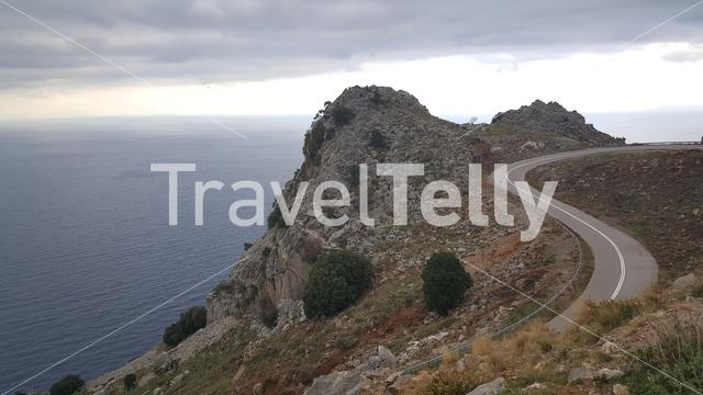 road up the mountains around Paralia Metochiou in Greece