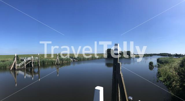 Panorama from the canal around the sea lock in Dokkumer Nije Silen, Friesland The Netherlands