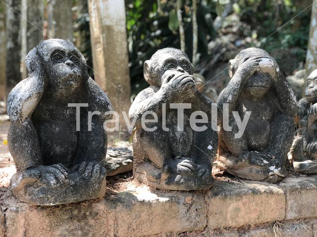 Hear no evil, Speak no evil, See no evil statues at the Big buddha in Phuket Thailand