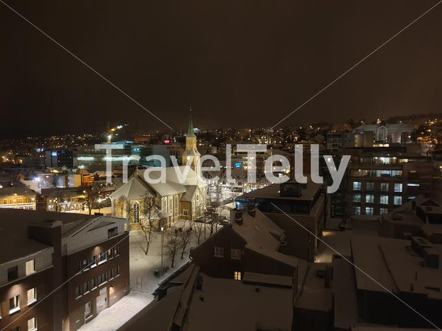 Cityscape of Tromsø on the last hours of the night