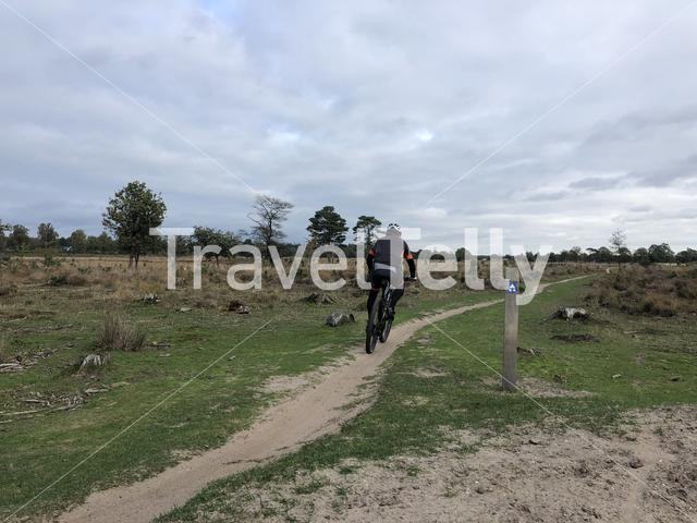 Cycling at Nationaal Park Drents-Friese Wold in Friesland, The Netherlands