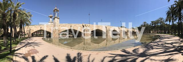 Panorama from the Puente del Mar bridge at the turia gardens in Valencia Spain
