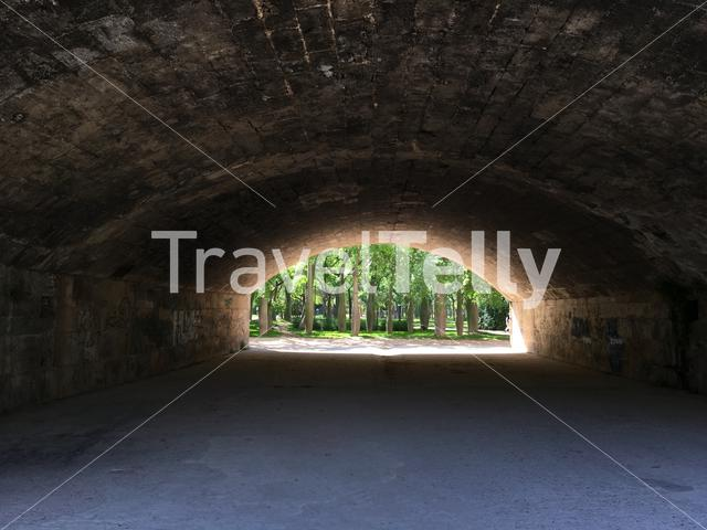View from under the Pont del Real at Turia gardens in Valencia Spain