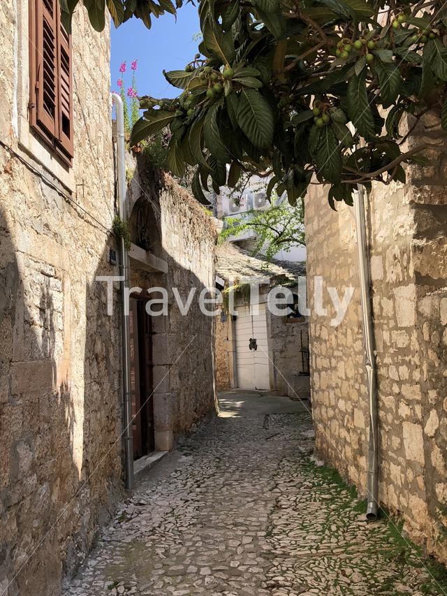Street in the old town of Supetar Croatia