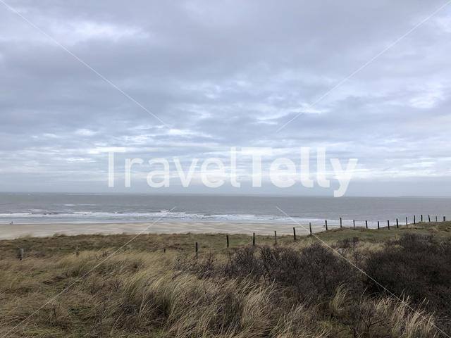 Beach and the north sea at Texel island in The Netherlands