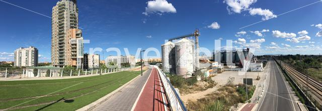 Panorama from a train track and factory in Valencia Spain