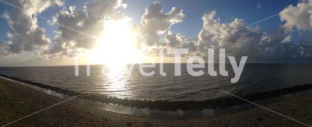 Panorama from the Sunset at the Waddensea in The Netherlands