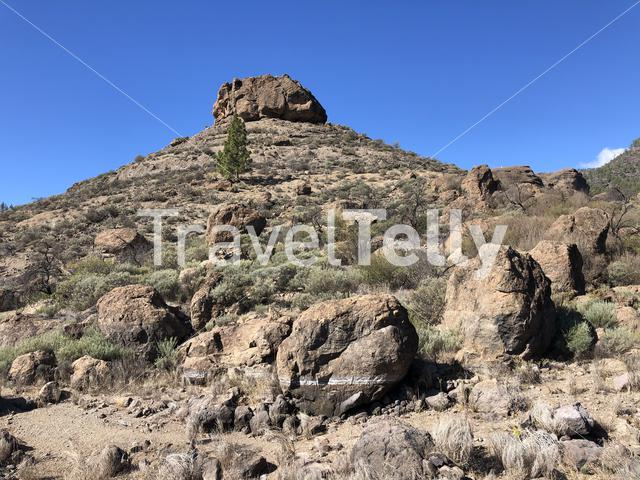 Big rock around Las Ninas Reservoir on Gran Canaria