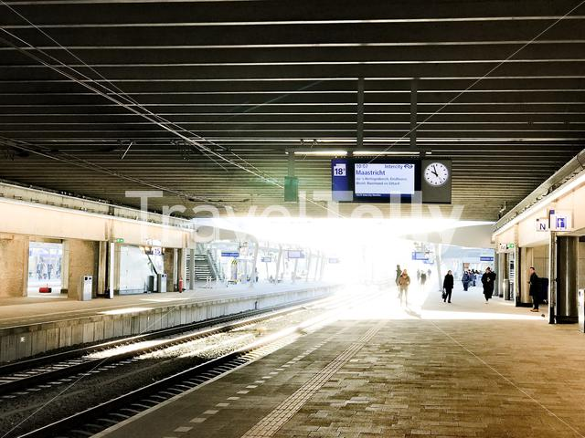 Waiting in the train to Maastricht at Utrecht train station in The Netherlands
