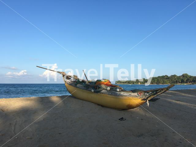 Fishing boat at Arugam Bay beach in Sri Lanka