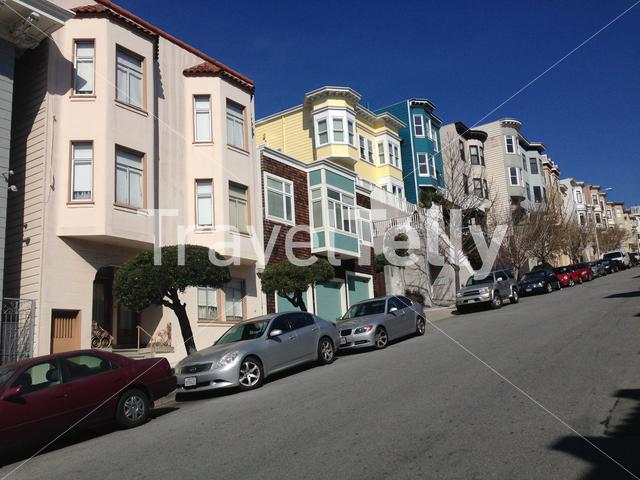 Colourful houses in Greenwich street, San Francisco