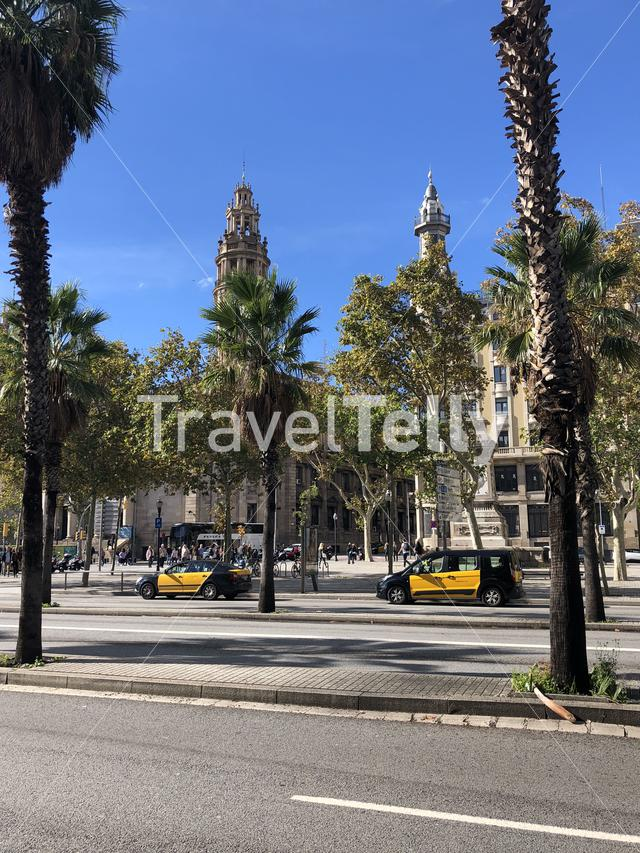 Taxis at the Gothic Quarter of Barcelona Spain