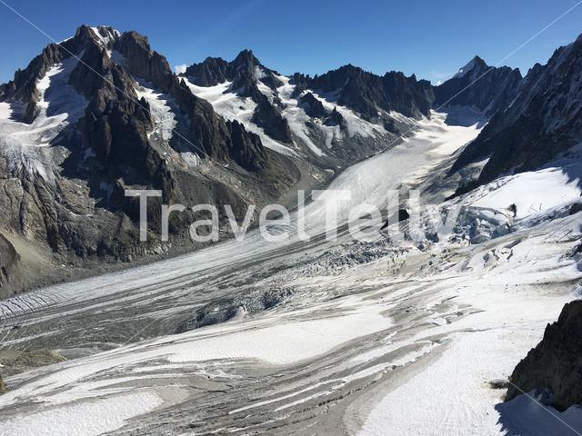 The glacier of Argentières near the Mont Blanc in the French Alps.