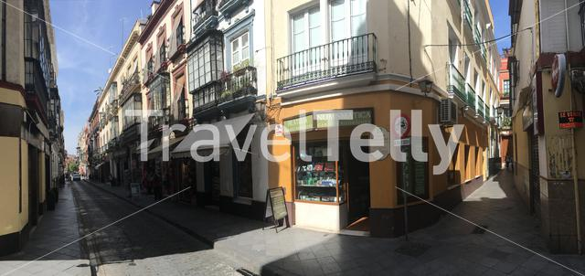 Panorama from the Calle Hernando Colon street in the old town of Seville Spain