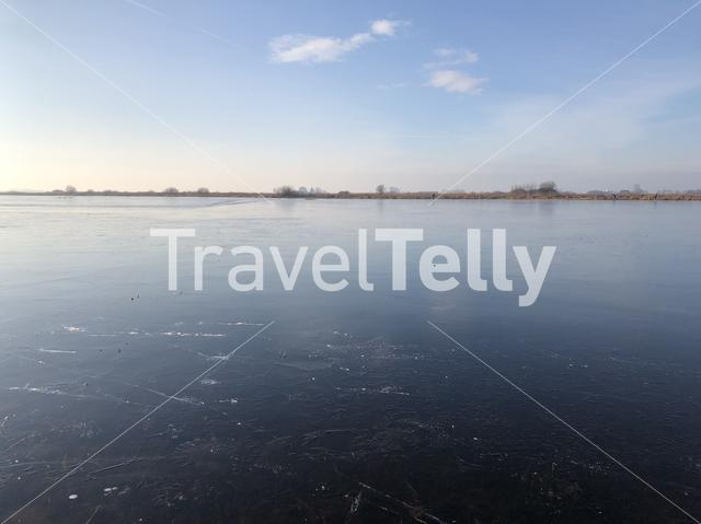 Ice on a lake in Sneek, Friesland The Netherlands