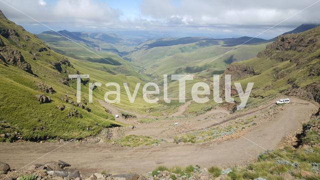 Driving through the Drakensberg Mountain Range in South Africa
