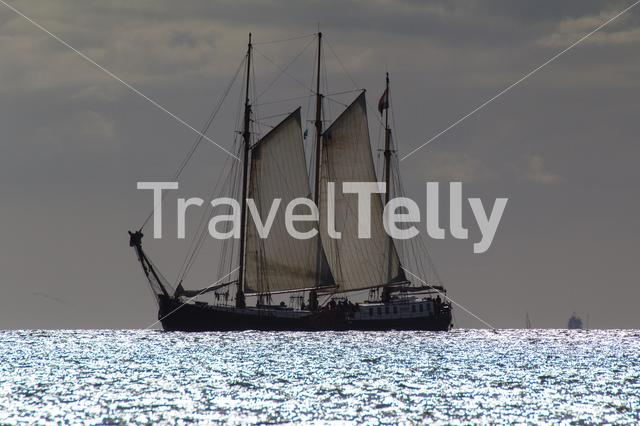 old dutch sailingboat on his way to the harbour of West-Terschelling