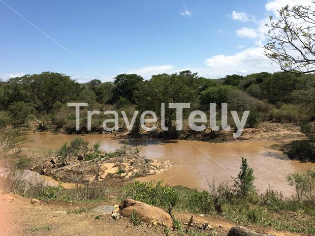 River at the Hluhluwe-Umfolozi Game Reserve in South Africa