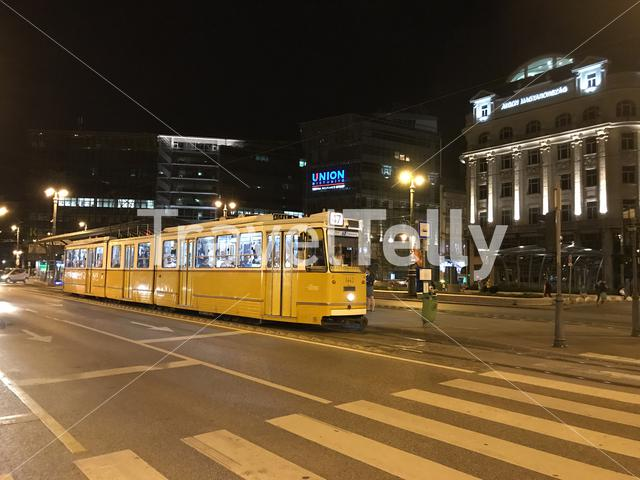 Tram at night in Budapest Hungary
