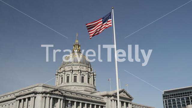 San Francisco city hall with the American flag