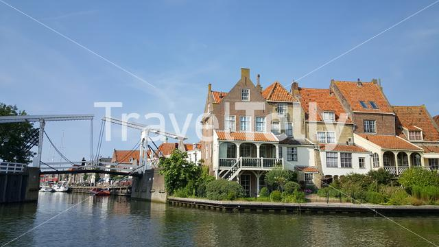 Old houses at waterfront in Enkhuizen