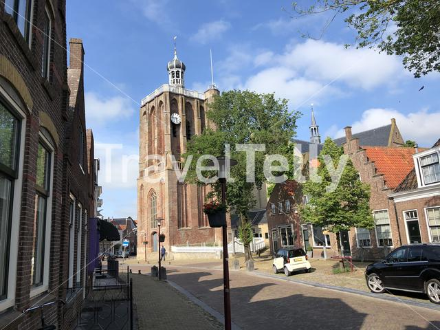 Grote of Sint-Gertrudiskerk and tower in Workum, Friesland The Netherlands