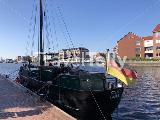 Sailboat at the old inland port in Emden, Germany