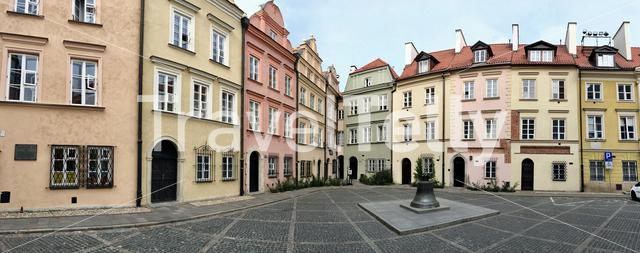 Panorama from colorful houses in the old town Warsaw Poland