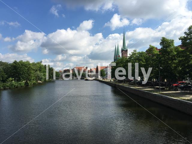 The Trave river and houses in the old town of Lübeck Germany