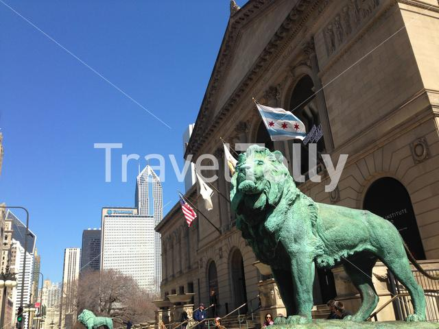 Lion statues in front of the The Art Institute of Chicago