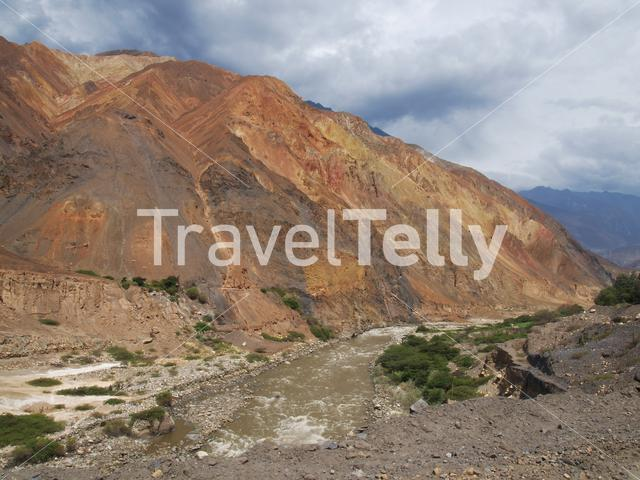 Mountain and river landscape at Moro District Peru