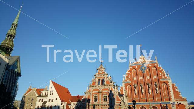 House of the Blackheads and the St. Peter's Church in Riga Latvia