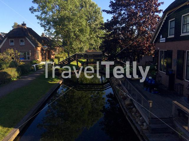 Bridge over a canal in Giethoorn The Netherlands