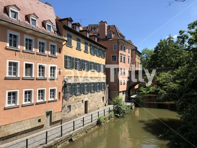Bridge over the Linker regnitzarm river in Bamberg, Germany