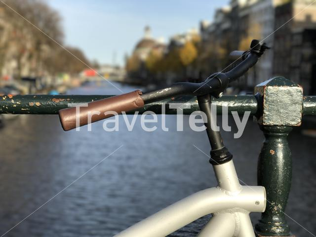Bicycle on a bridge in Amsterdam The Netherlands