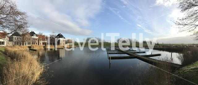 Panorama from old frisian houses and holiday homes Landal Esonstad in Oostmahorn Friesland The Netherlands