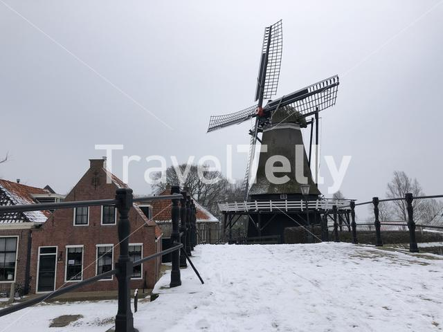 Windmill in Sloten during winter