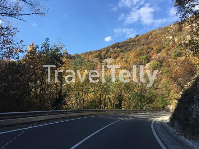 Road through an autumn landscape towards Bachkovo Bulgaria