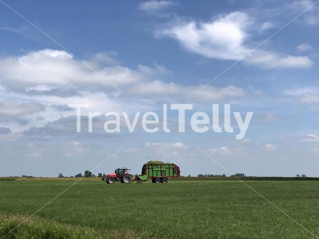 Farmer at work in Greonterp, Friesland, The Netherlands