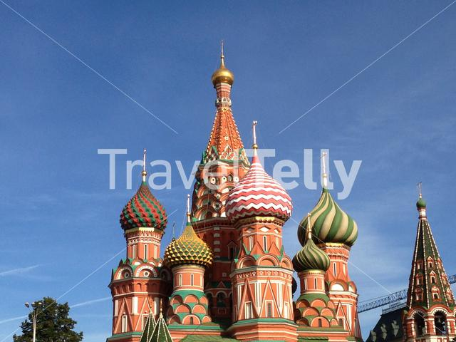 Saint Basil's Cathedral is a church in Red Square in Moscow, Russia. Photo made from the bridge.