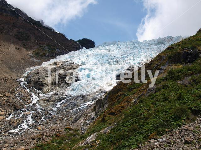 Snow melting at a glacier in Chile