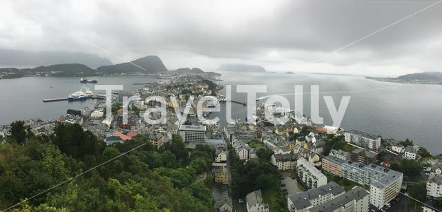 Ålesund in Norway, from the Fjellstua view point on a rainy day in August.