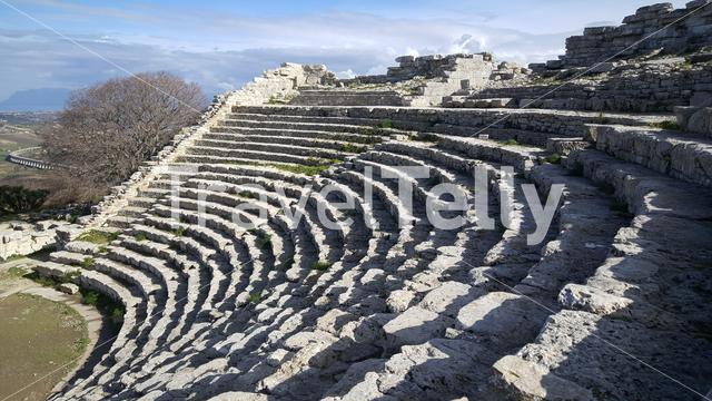 The Greek theatre of Segesta in Italy
