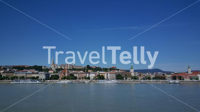 View from Pest to Buda in Budapest Hungary with the Matthias Church