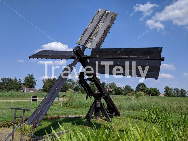 Old wooden windmill monument in Kalenberg The Netherlands
