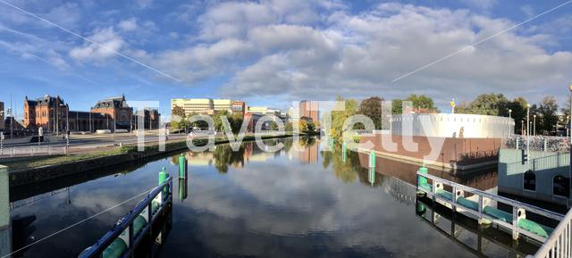 Panorama from canal around the Groninger Museum in Groningen