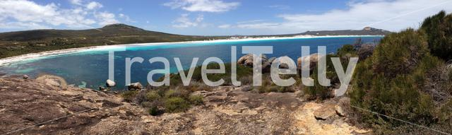 Lucky Bay beach panorama with rocks at Cape Le Grand National Park Australia