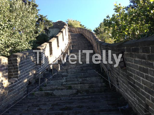 Steep steps at the Mutianyu a section of the Great Wall of China