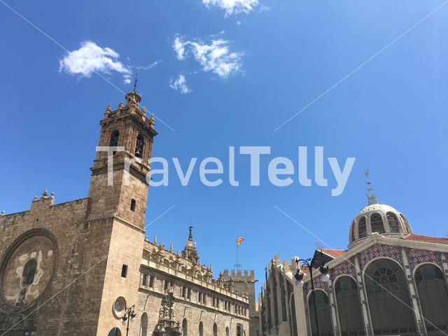 Església dels Sants Joans and the the Central Market of Valencia in Valencia Spain