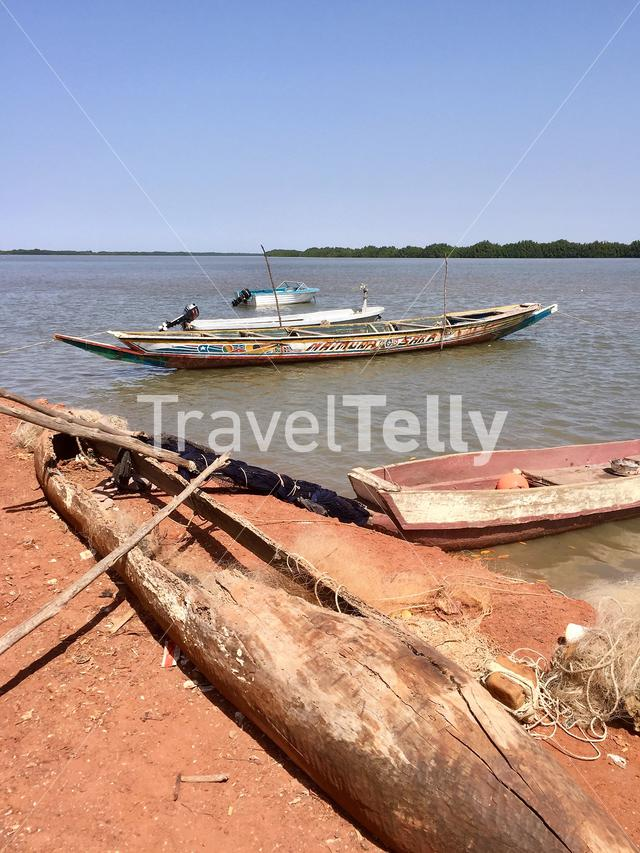Canoe Boats river in Gambia